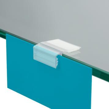 Uchwyt z funkcją zawiasową, do przyklejenia na regały z drewna, szkła lub metalu