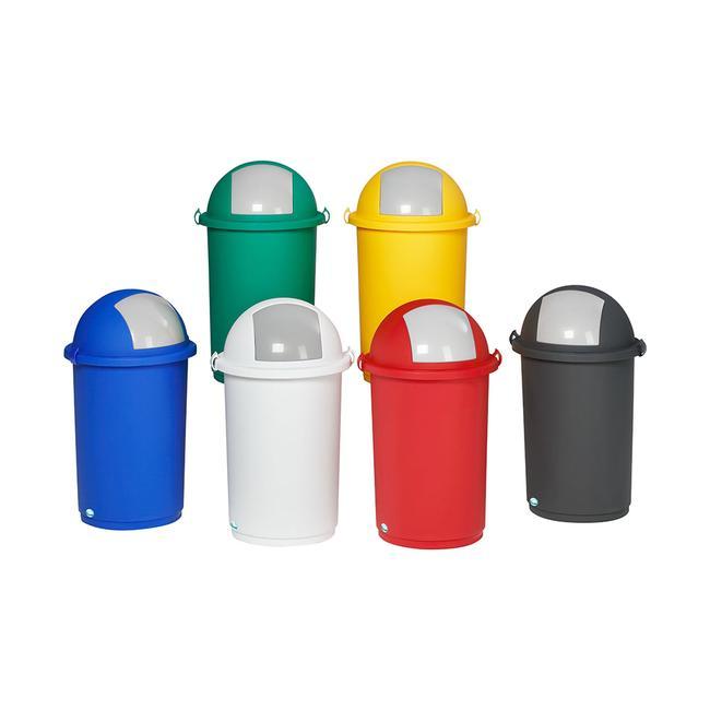 Kosz na śmieci z tworzywa sztucznego w różnych kolorach
