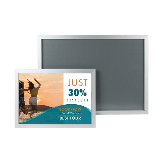"""Aluminiowa ramka zaciskowa """"Straight"""", profil 32 mm, anodowany na kolor srebrny, narożniki ścięte po skosie"""