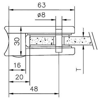 Uchwyt mocujący na rurach 48,3-50,8 mm ø / 6 und 8 mm