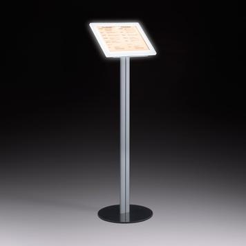 Stojak z ramką magnetyczną LED, wolnostojący, wykonany z aluminium, posiada stalową podstawę