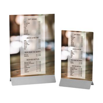 Stojaczek do kart menu ze stali szlachetnej i kieszeń z tworzywa sztucznego