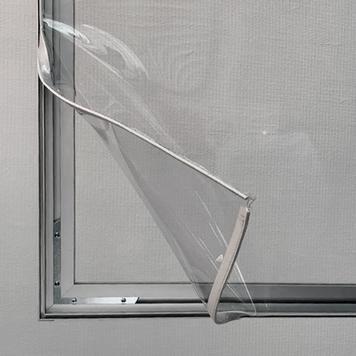 Ścianka działowa z aluminiową ramą z przezroczystym banerem PVC